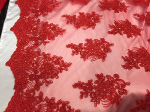 Red Flower Lace Corded And Embroider With Sequins On A Mesh.wedding/bridal/prom. - KINGDOM OF FABRICS