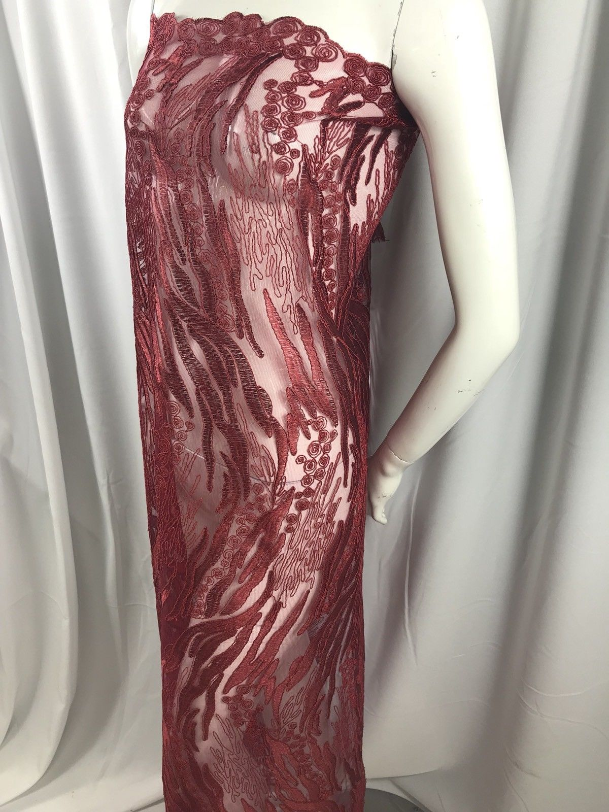 Lace fabric - Burgundy Flower Mesh Dress Embroidered Bridal Wedding By The Yard - KINGDOM OF FABRICS