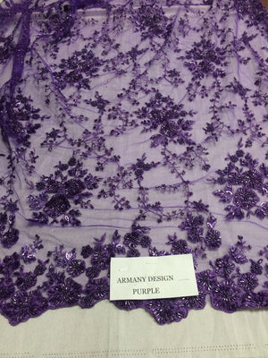Stunning Small Flower Heavy Beaded Mesh Lace Bridal Wedding Purple Sold By Yard - KINGDOM OF FABRICS