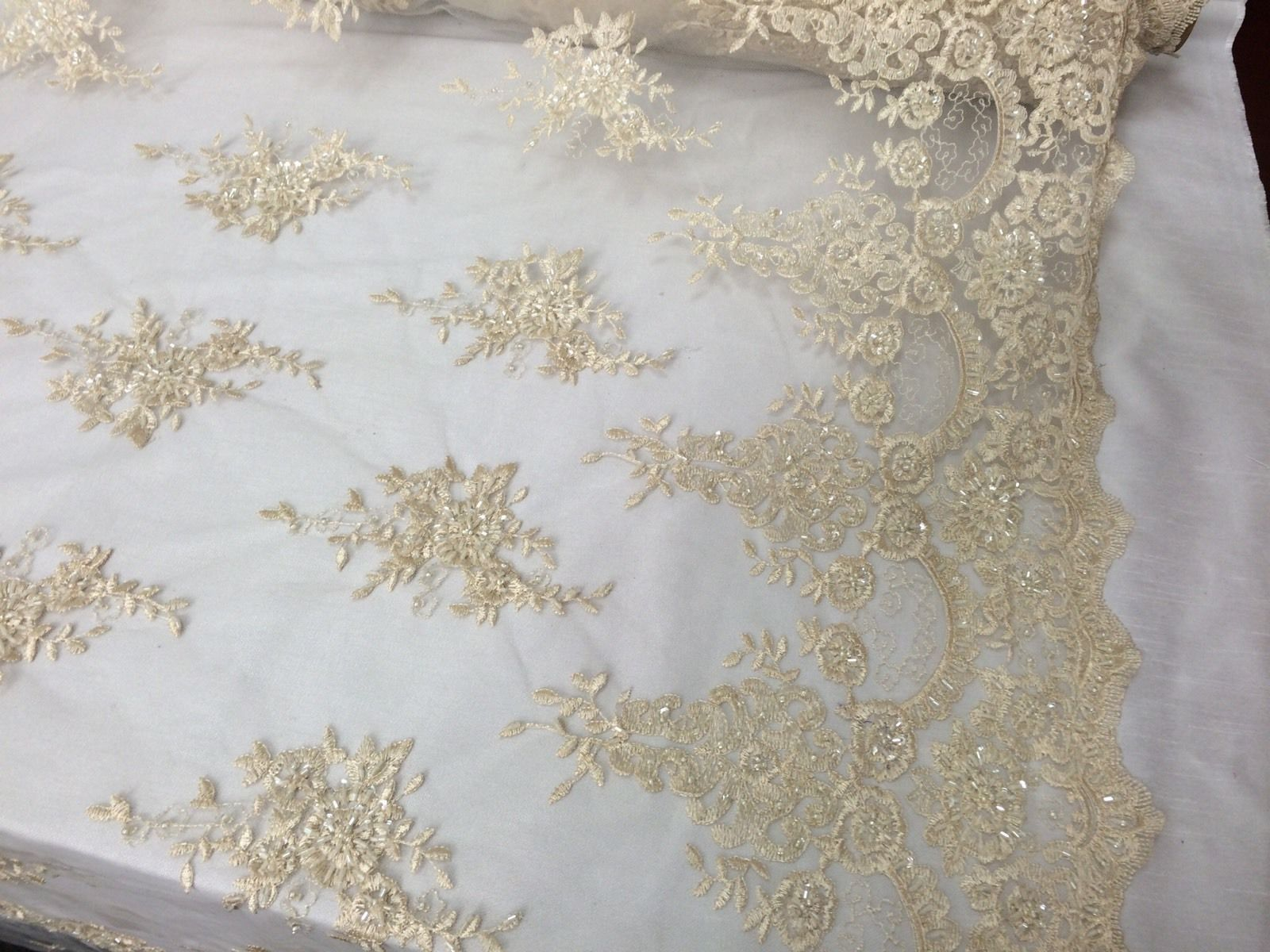 Bridal Cream French Design,Flower Embroider And Hand Beaded On A Mesh Lace. - KINGDOM OF FABRICS