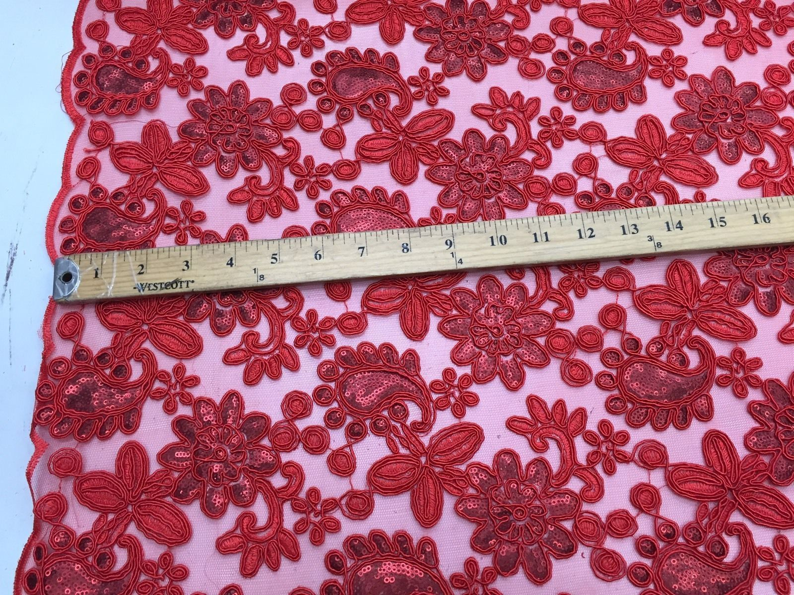 Red Paisley Flowers Embroider On A Mesh Lace.Wedding/Bridal/Nightgowns/Prom. - KINGDOM OF FABRICS