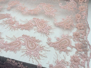 Beaded Dusty Rose Mesh Lace Fabric Luxurious Design By Yard - KINGDOM OF FABRICS