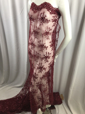 Lace Fabric - Burgundy Mesh Embroidery Beaded & Crystal Sequins By The Yard - KINGDOM OF FABRICS