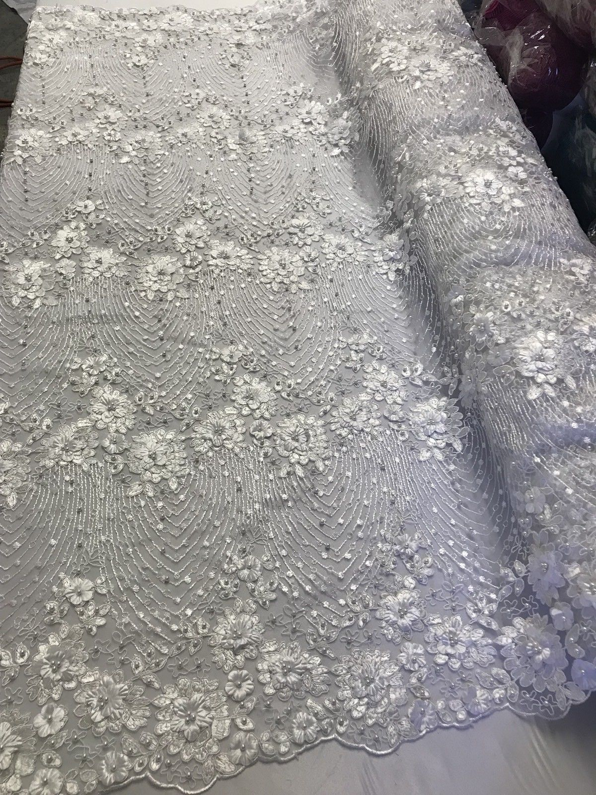 Bridal Flower Embroidered Floral Mesh & Pearls By The Yard Lace Fabric White - KINGDOM OF FABRICS