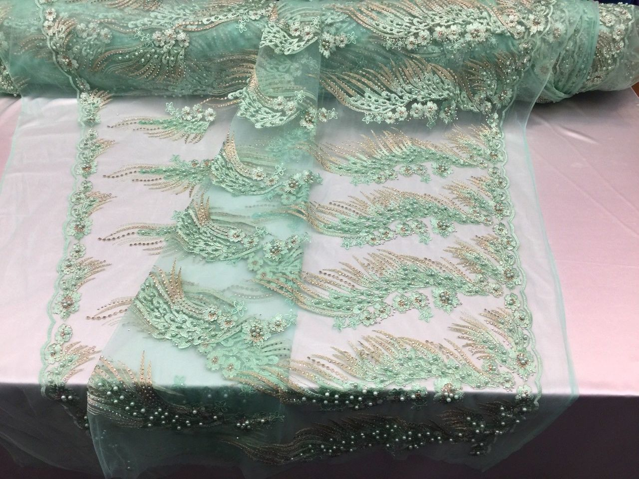 Her Majesty Designs Super Luxurious Beaded Bridal Wedding Mesh Lace Mint. 1 Yrd - KINGDOM OF FABRICS
