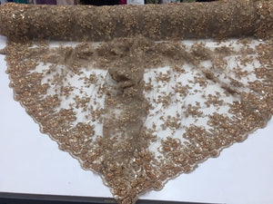 Supreme Luxurious Heavy Beaded Mesh Lace Fabric Bridal Wedding Skin. 1 Yard - KINGDOM OF FABRICS
