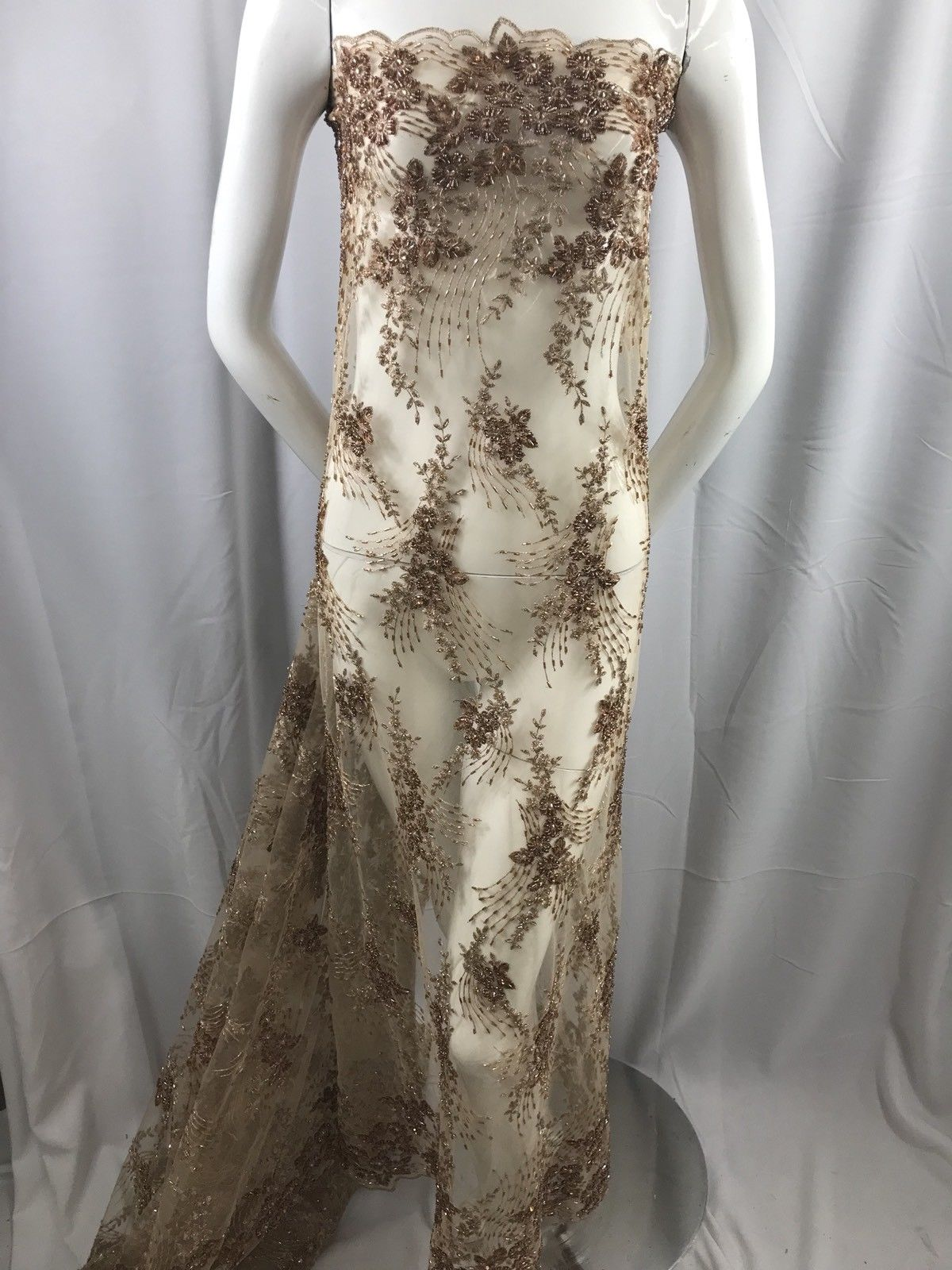 Lace Fabric By The Yard Embroidery Sequins Mesh Taupe For Bridal Wedding Dress