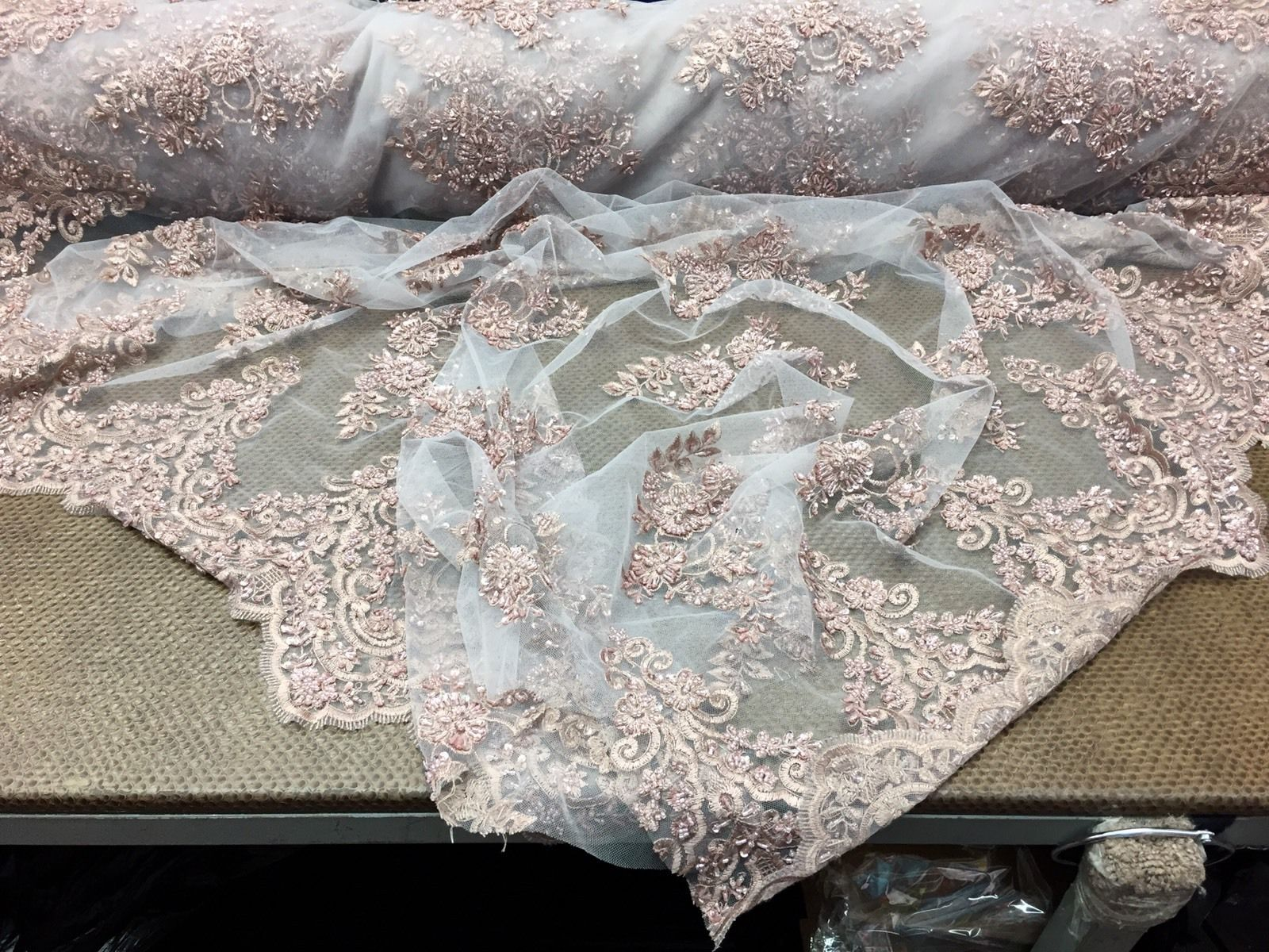 Royals Beaded Design Mesh Lace Fabric Bridal Wedding Mauve. Sold By The Yard - KINGDOM OF FABRICS