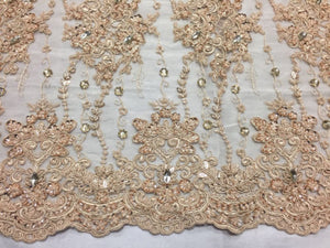 Luxurious Flower Super Beaded Pearls Mesh Lace Fabric Beaded Bridal Wedding skin - KINGDOM OF FABRICS