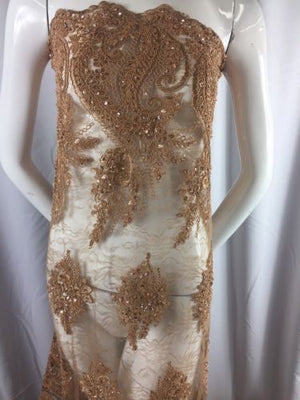 Beaded fabric - Embroidered Lace Copper For Bridal Veil By The Yard - KINGDOM OF FABRICS