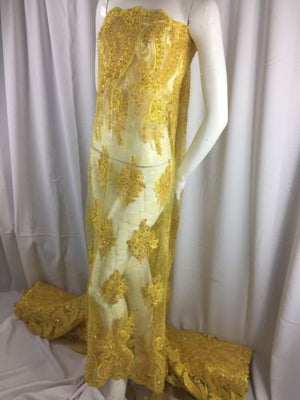 Beaded fabric - Embroidered Lace Yellow For Bridal Veil By The Yard - KINGDOM OF FABRICS