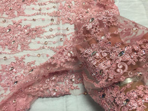 Luxurious Flower Super Beaded Pearls Mesh Lace Bridal Wedding Pink. - KINGDOM OF FABRICS