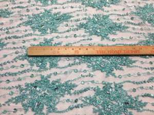 Luxurious super Beaded Pearls Mesh Lace Fabric Bridal Wedding flower aqua. - KINGDOM OF FABRICS