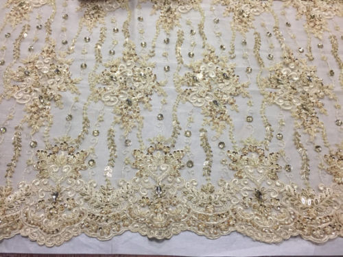 Luxurious Super Beaded Pearls Mesh Lace Bridal Wedding Fabric Flower cream. - KINGDOM OF FABRICS