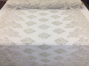 Beaded fabric - Embroidered Lace Ivory & Silver For Bridal Veil By The Yard - KINGDOM OF FABRICS