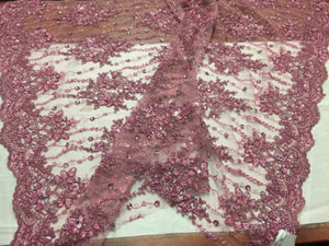Luxurious Super Beaded Pearls Mesh Lace Bridal Wedding Fabric Flower dusty rose. - KINGDOM OF FABRICS