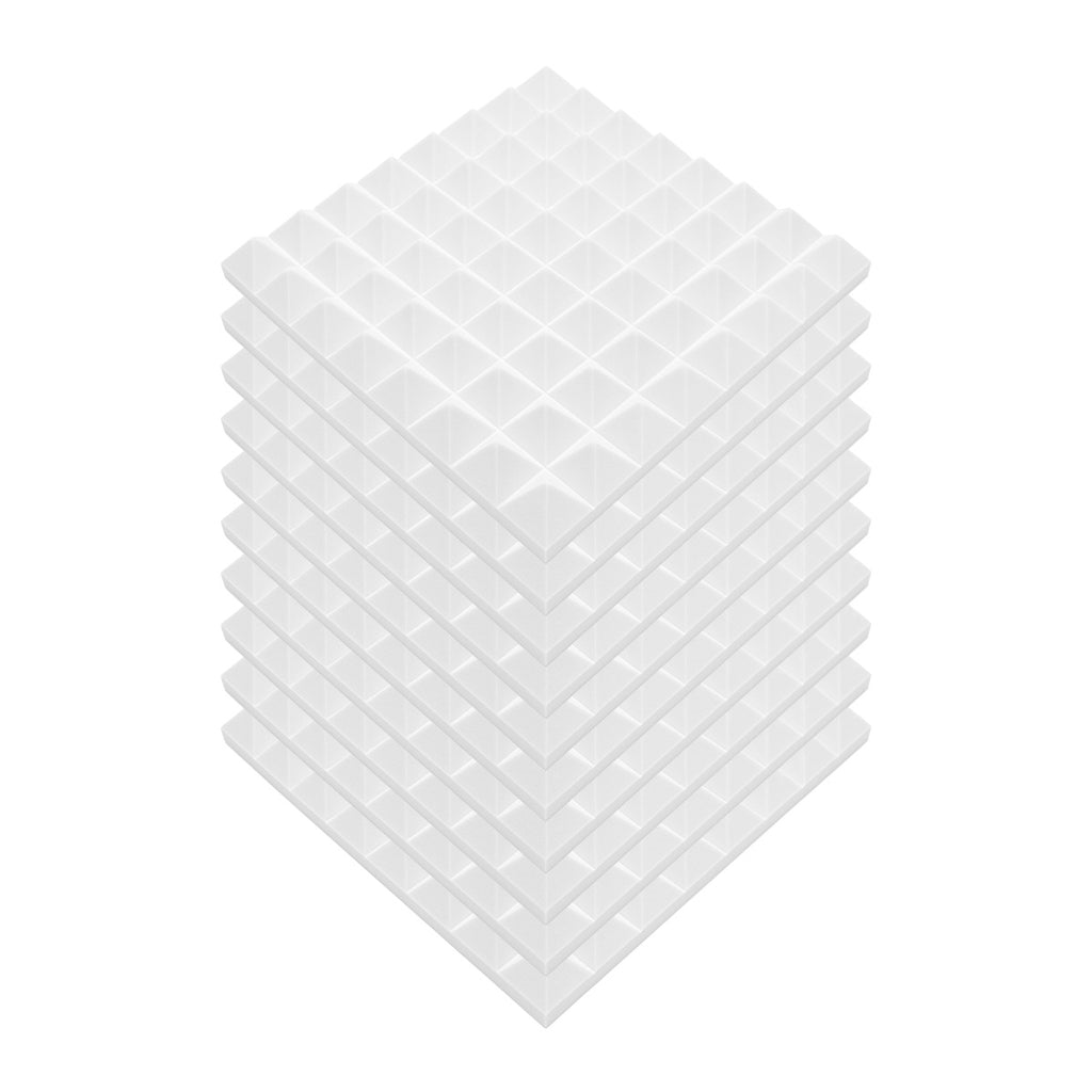 "12 Pack - White/Ivory Acoustic Foam Sound Absorption Pyramid Studio Treatment Wall Panels, 2"" X 12"" X 12"" - KINGDOM OF FABRICS"