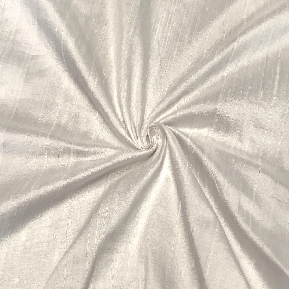 "White 100% Pure Silk Dupioni Fabric 54""Wide BTY Drape Blouse Dress Craft Sold By The Yard."