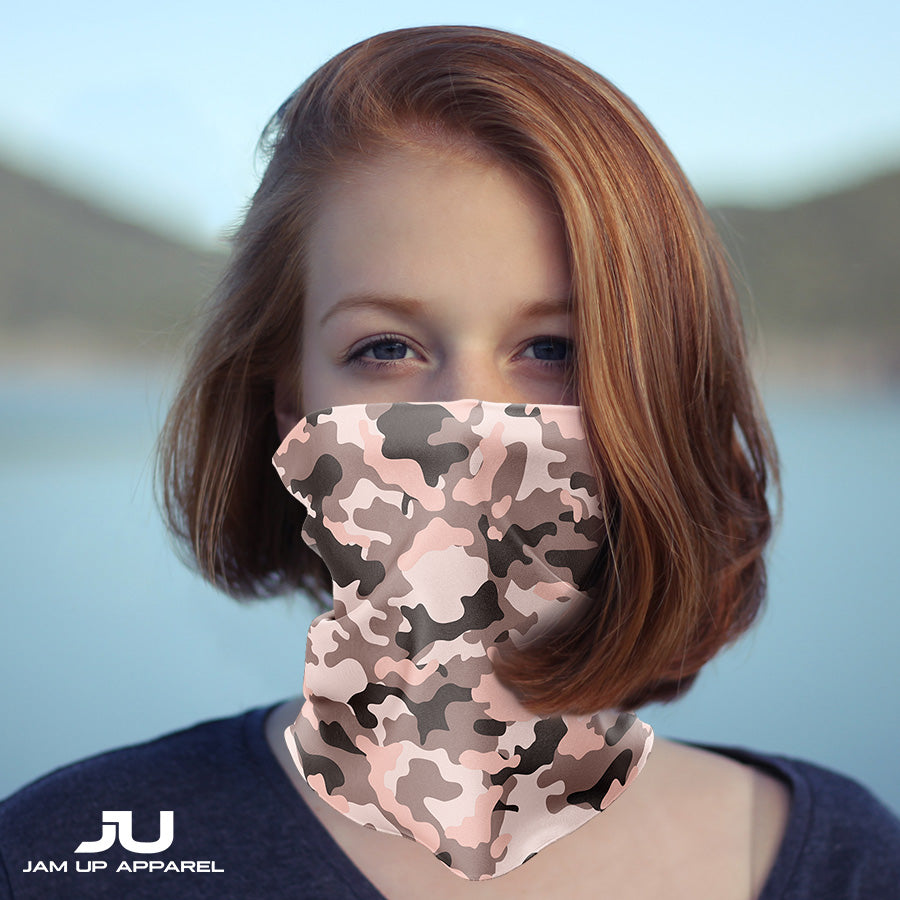 Pink Camo Neck Gaiter - MADE IN THE USA 🇺🇸🇺🇸