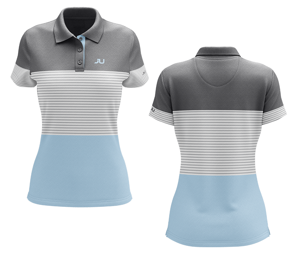 The Blocker Baby Blue Women's Sublimated Golf Shirt - Made in the USA 🇺🇸