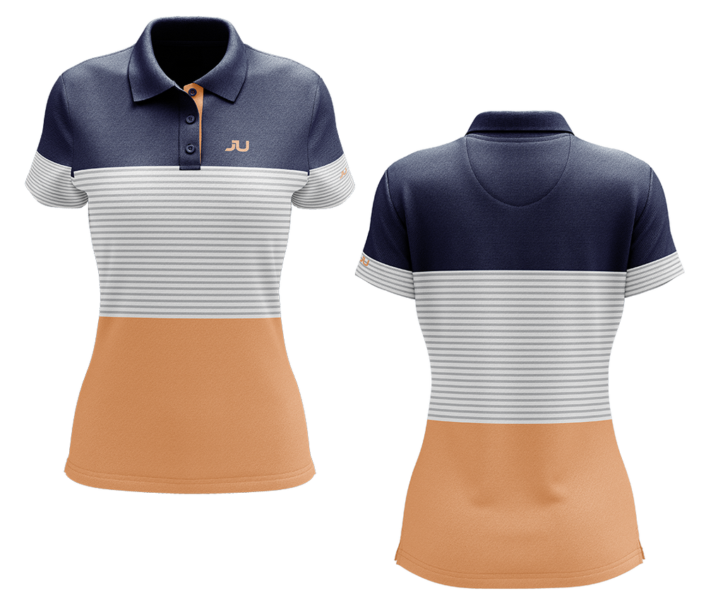 The Blocker Tangerine Women's Sublimated Golf Shirt - Made in the USA 🇺🇸
