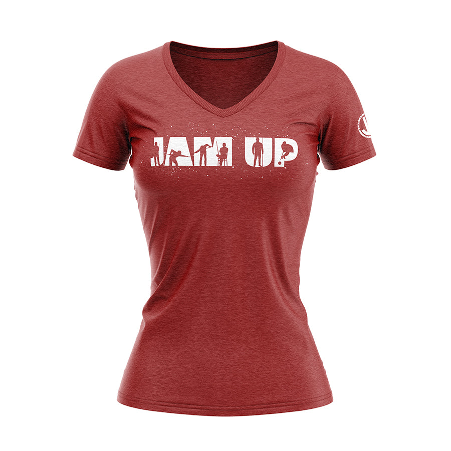 Women's Jam Up Silhouette Red V-neck Tee