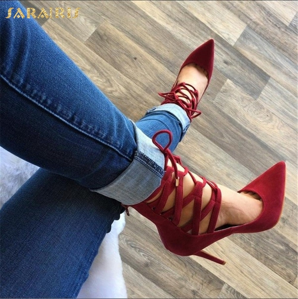 Luxury Pointed Toe Gladiator High Heel Pumps