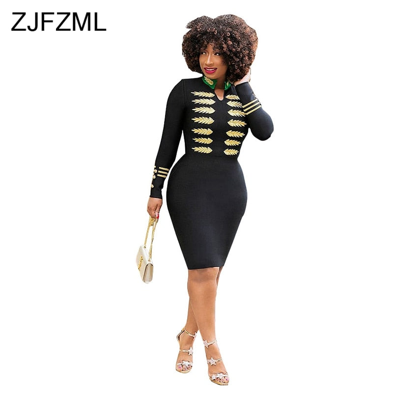Gold Leaves Sexy Embroidery Dress Plus Size Available