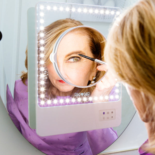 RIKI SKINNY makeup vanity mirror with suction cup and magnifying mirror attachment