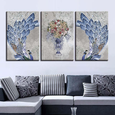 Feathery Peacock Flowers Set