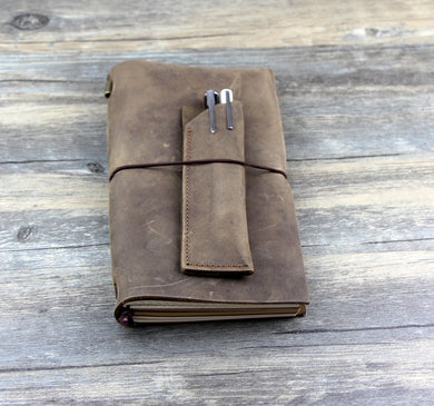 Handmade Vintage Style Leather Journal with pen bag