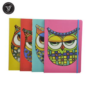 Funky Owl Soft Cover Notebook in assorted colours