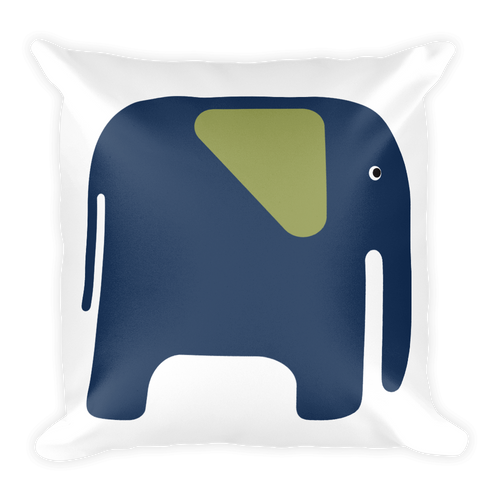 Elephant Square Pillow - Navy Blue and Green