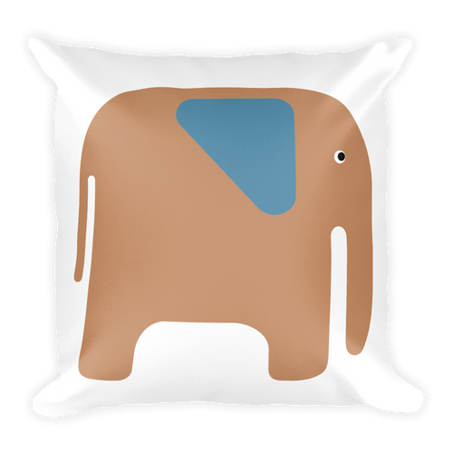 Elephant Square Pillow - Beige and Blue