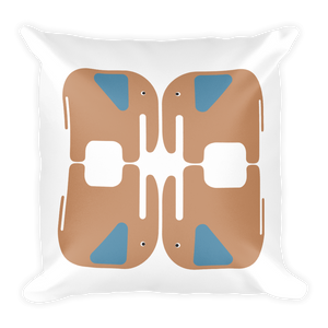 Elephants Square Pillow - Beige and Blue