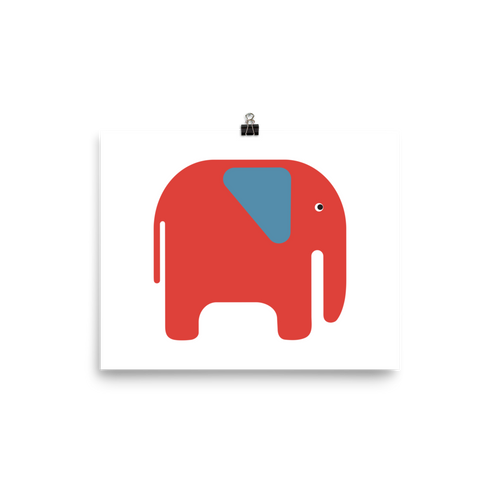 Elephant Poster - Orange and Blue