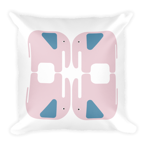 Elephants Square Pillow - Pink and Blue
