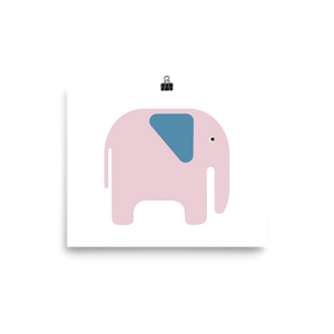 Elephant Poster - Pink and Blue