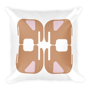 Elephants Square Pillow - Beige and Pink