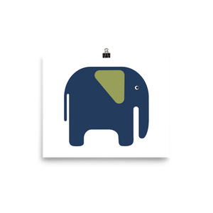 Elephant Poster - Navy Blue and Green