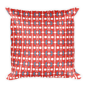 Elephants Pattern Square Pillow - Orange and Blue