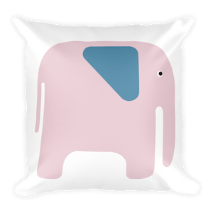 Elephant Square Pillow - Pink and Blue
