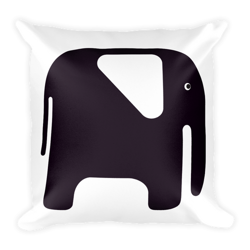 Elephant Square Pillow - Black and White