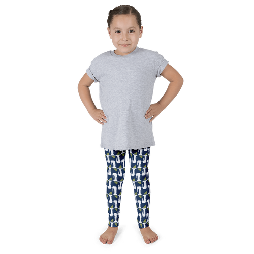 Elephant Wave Pattern Leggings - Navy Blue and Green