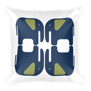 Elephants Square Pillow - Navy Blue and Green
