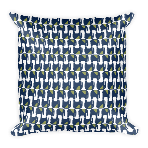 Elephants Pattern Square Pillow - Navy Blue and Green