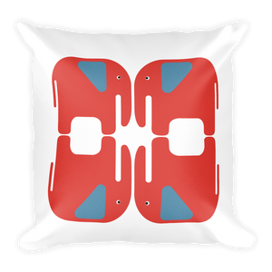 Elephants Square Pillow - Orange and Blue