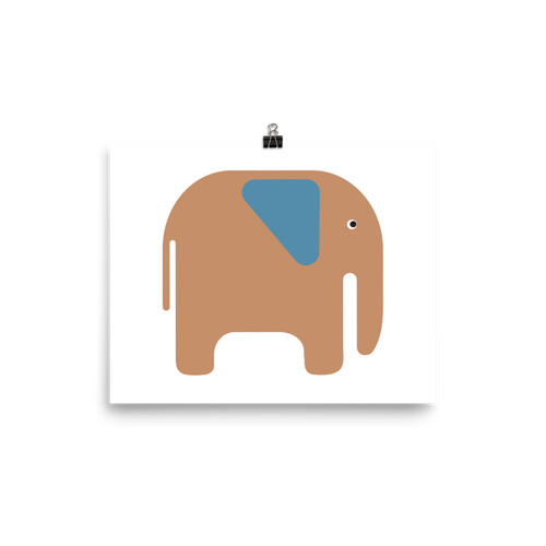 Elephant Poster - Beige and Blue