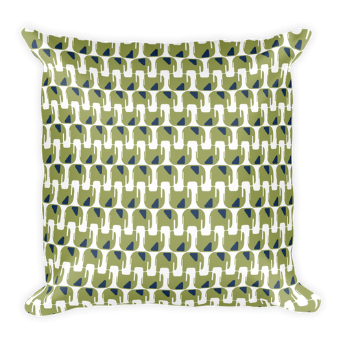 Elephants Pattern Square Pillow - Green and Navy Blue