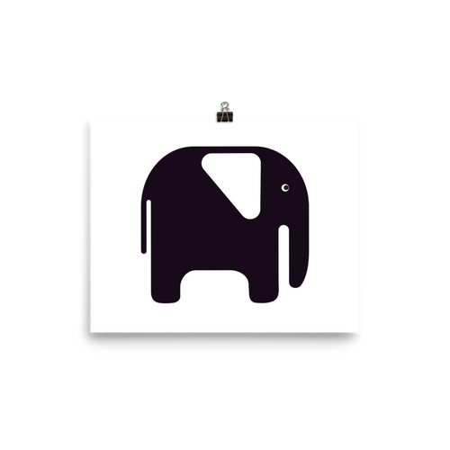Elephant Poster - Black and White